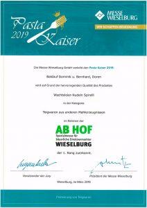 Pasta Kaiser 2019 Goldmedaille für Wachteleier Nudeln Spirelli